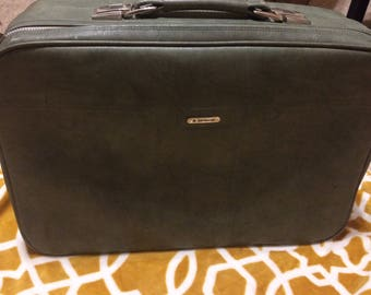 Vintage Sage Green Samsonite Suitcase, Retro Vinyl Luggage