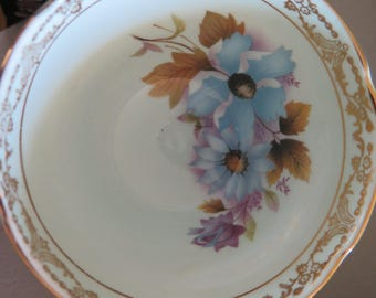 Royal Sutherland Teacup Heavy Gold Trim Fine Bone China 1970s Staffordshire England Blue Floral