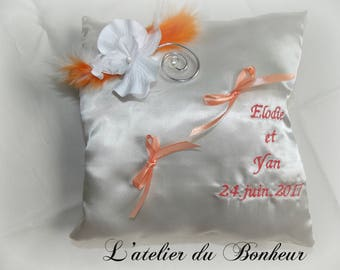 Personalized with names and date wedding ring pillow