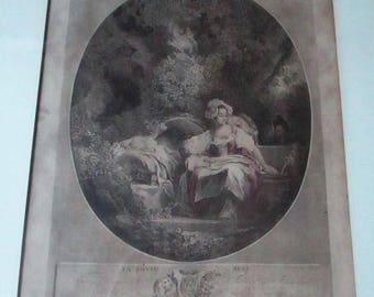 Antique 1779 La Bonne Mere The Good Mother Engraving Nicolas De Launay Jean Honore Fragonard 18th Century French Print Lady Sleeping Child