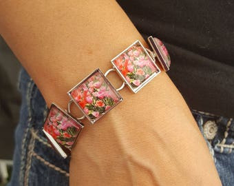 Tulip Bracelet in Silver Setting with Square Glass Cabochons Photo Bracelet Photo Jewelry Flower Jewelry Nature Jewelry Nature Photos Tulips