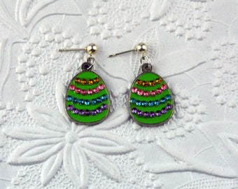 Green Easter Egg Post Earring Set for Children and Adults