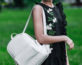 White Leather backpack - Cooper