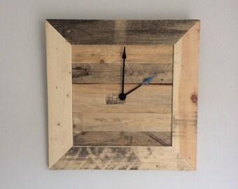 Square wooden clock, Wood wall clock, Pallet wood, Rustic Clock,   Living Room, Kitchen, Kitchen Clock , Handmade Clock,Pallet Clock,Bespoke