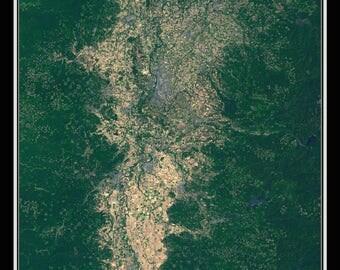 Willamette Valley Oregon Satellite Poster Map