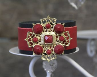 Red & Gold Cross Brooch Leather Cuff