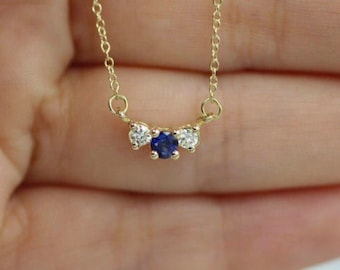 Diamond necklace 14k gold necklace sapphire necklace three stone necklace past present future necklace