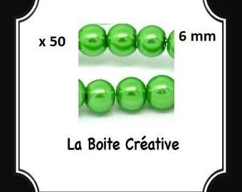 50 glass Pearl 6 mm Green round beads