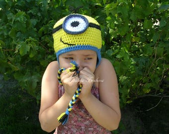 Crochet Minion Inspired hat/Minion Inspired Beanie/crochet minion hat/baby minion/minion gift/minion hat/baby beanie/photo prop