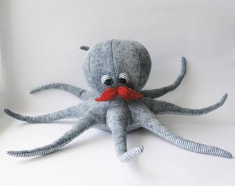 Handmade soft toy octopus with mustaches nursery decor stuffed toy octopus gift