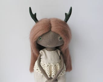 Ooak art doll faun with deer horns whimsical horned doll fantasy linen rag doll forest fairy wire doll