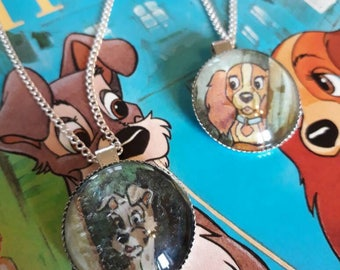 Disney Lady and the Tramp inspired pendant necklaces