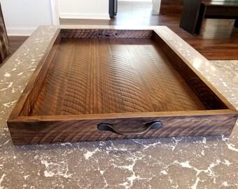 Rustic Wood Ottoman Tray - Table Tray - Sofa Tray - Breakfast Tray - Serving Tray