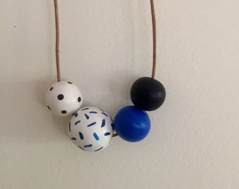 Wooden bead necklace |  indigo collection |  hand painted wooden bead necklace
