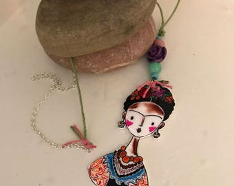 SALE Frida Kahlo necklace , handmade , hand drawn with bamboo cord