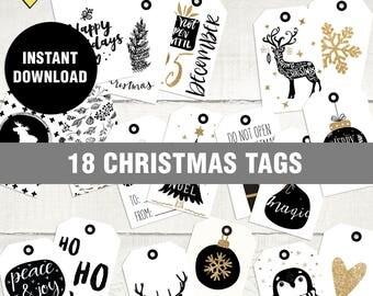 Black and white christmas tags, Printable christmas tags, Black and white christmas tags printable, Digital christmas tags