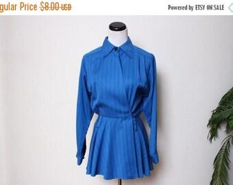 30% OFF VTG 80s Secretary Blue Pin Striped Collar Peplum Top S
