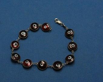Vintage Red Evil Eye 925 Sterling Silver Bracelet - Handmade