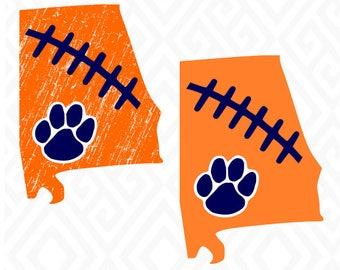 Distressed Auburn Tigers; SVG, DXF, EPS, Ai, Jpeg, Png, and Pdf Cutting Files for Electronic Cutting Machines