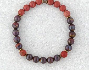Mens Beaded Bracelet, Jasper Bracelet, Boho Bracelet, Tiger Iron Stone, Anniversary Gift, Elastic Bracelet, Hipster Bracelet, Mens Gift