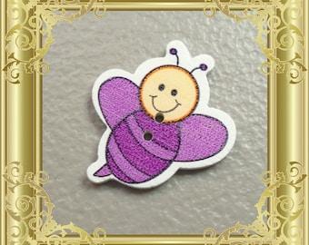 Bee Cross Stitch Needle Minder - Purple