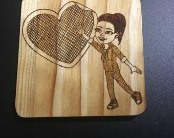 Custom Bitmoji Wood-burned Plaque made to order BitPlaques