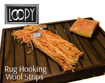 Rug Hooking Wool Strips, rug hooking, Light Pink/Orange (Orange Froth), hand dyed, 100% wool (50 Strips)