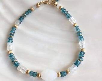 Neon Blue Apatite,Rainbow Moonstone, and 14K Gold Beaded Stacking Bracelet