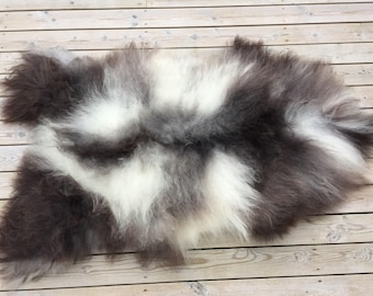 Georgeous sheepskin rug soft, volumous throw sheep skin long haired Norwegian pelt natural black grey 18047