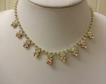 Vintage Diamante Choker Necklace, Diamante Necklace, Crystal Necklace, Pink Crystal Necklace, Pink Necklace