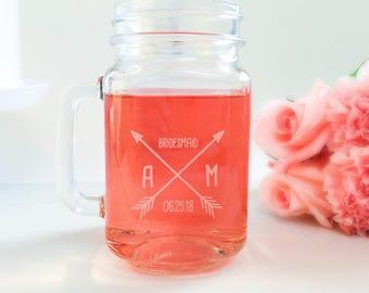 Arrows Mason Jar Drinking Glass, Bridesmaid Gift, Bridesmaid Glasses, Mason Jar Drinking Favors, Bridesmaid Proposal, Rustic Wedding Favor