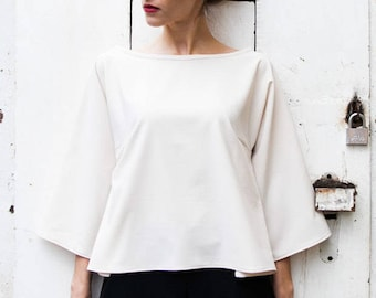 Oversized Blouse Cotton, Crop Sleeve, Cream/Beige Top, Summer Tops