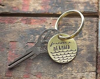 Forever a Mermaid hand stamped keychain   boho bohemian gift beach ocean scales