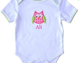 Hoot Owl Bodysuit |Girl's One Piece Outfit | Personalized Baby Gift | Monogram Baby Gift | Baby Shower Gift