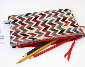 Large zip - pouch pattern ZIG ZAG MULTICOLOR - 23 x 15 cm (zipper pocket)