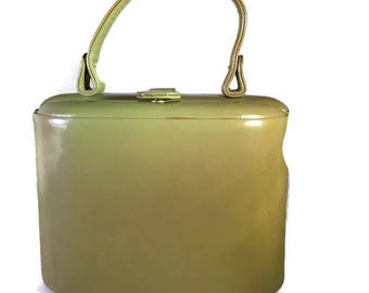 Vintage Retro 60s Leather Handbag, Classic Small Structured Bag, Top Handle Purse