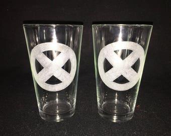 2 Hand Etched X-Men Pint Glasses!