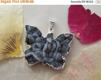 ON SALE Black Agate Crystal Druzy Butterfly Pendant ~ Natural ~ Organic Surface ~ Silver Plated ~ 34x26mm ~ Jewelry Making Supply