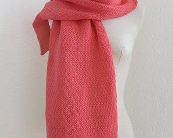 Pink scarf knitted cotton and alpaca, linen back