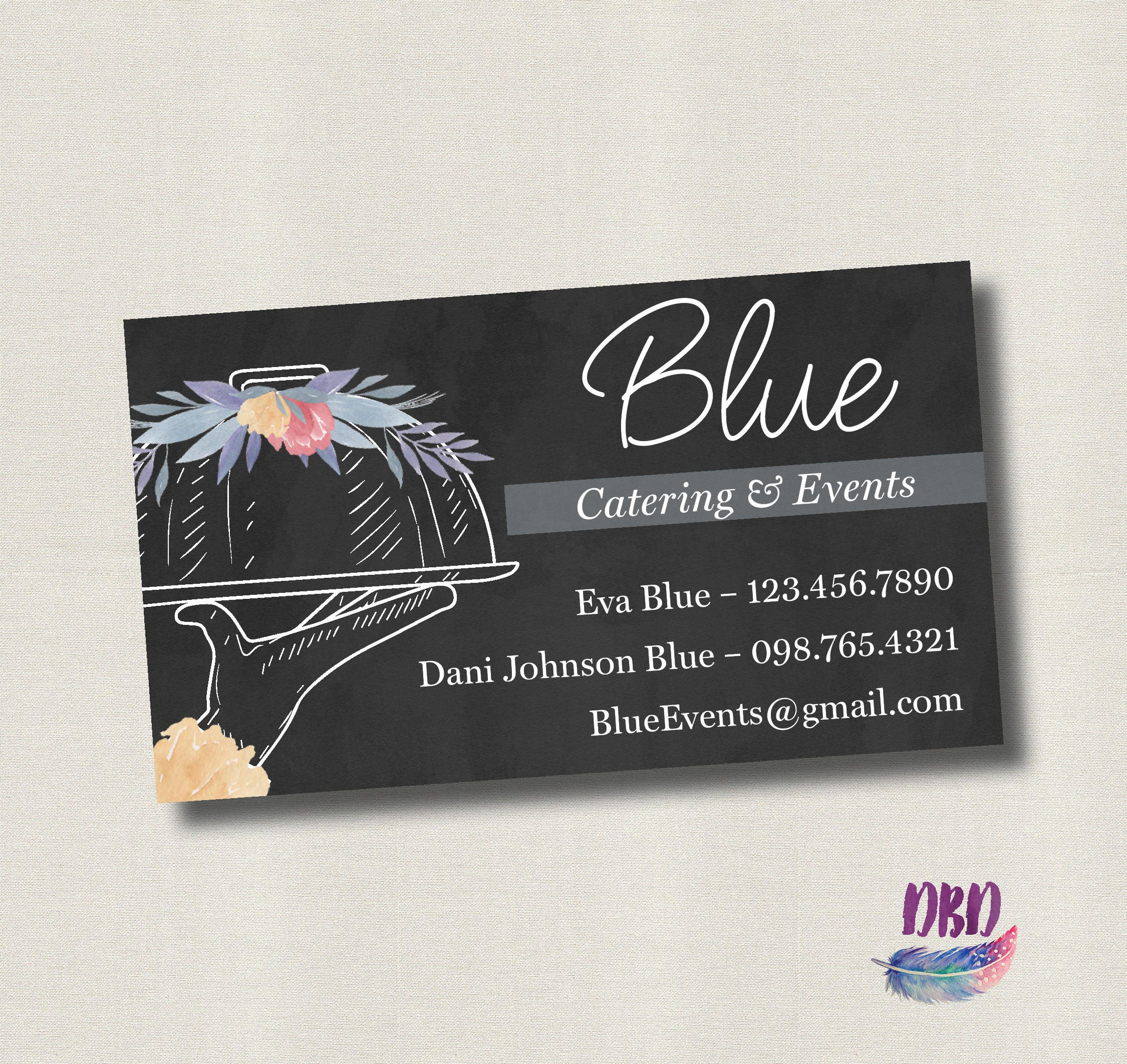 Catering business card Floral Chalkboard - Printable Digital file ...