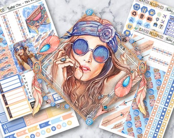 MINI Weekly Kit / Boho Chic / Planner Stickers / Fits Erin Condren Vertical & MAMBI / Hand Drawn / Watercolor
