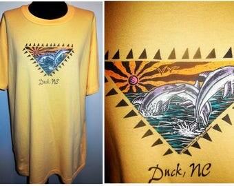 T-Shirt XL Cotton Yellow Short Sleeve Shirt Top Vintage Clothing