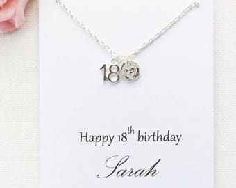VACATION SALE Personalized 18th birthday gift, 18th birthday, eighteenth birthday gift, message card necklace,18th gift, gift for 18th, BMCN