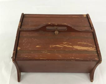 Wood Sewing Box, Vintage Wooden Double Hinged Sewing Box, Wooden Sewing  Basket, Knitting