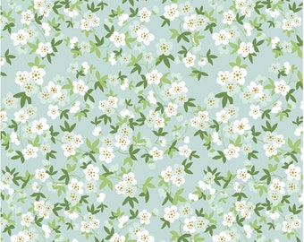 Fat Quarter Safari Floral Mint Wih Sparkle Safari Party by By Melissa Mortenson Riley Blake Fabrics, Floral Flowers With Leaves