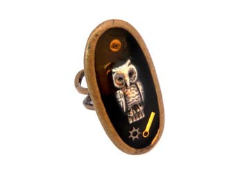 "steampunk vintage collectible ""art on the finger"" ring gear OWL"