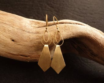 Earrings Brass Gold Long