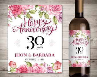 Wedding Anniversary Wine Labels - Personalized Anniversary Wine Label - Custom Wedding Anniversary Wine Label - 30 years Anniversary