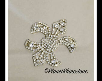Gold Small Fleur De Lis Rhinestone applique #164