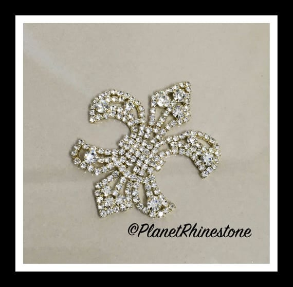 Gold Small Fleur De Lis Rhinestone applique #164